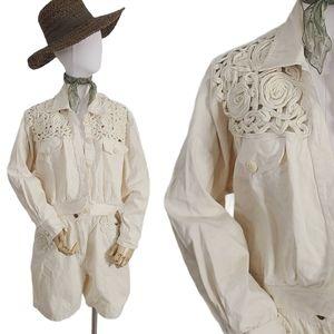 80-90s Ivory 2 Piece Denim Jacket & Shorts Set